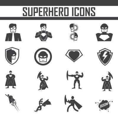Plakat superbohaterem ikon wektorowych.