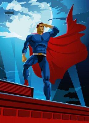 Plakat superbohaterem na dachu wygląda na odległość