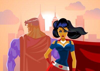 Plakat Superhero Couple: Male and female superheroes. Back to a back. P