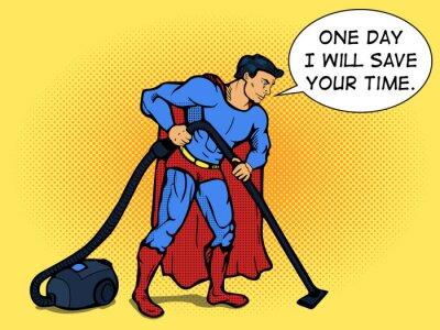 Plakat Superhero człowiek z odkurzacza pop art Wektor