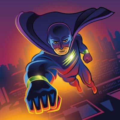 Plakat Superhero latające nad miasto nocą.