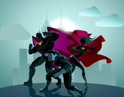Plakat Superhero zespołu; Zespół superbohaterów, stwarzające przed światłem.