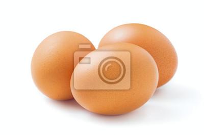 Plakat surowe jaja kurze wyizolowanych na białym tle