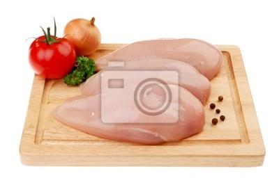 Plakat Surowe piersi z kurczaka na białym