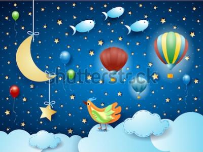 Plakat Surrealistyczna noc z balonami, ptakami, półksiężycem i latającymi fisches. Wektorowa ilustracja eps10