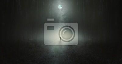 Plakat Surrealistyczna scena grozy z samotnym dziwnym mężczyzną w lesie ciemnej nocy