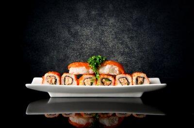 Plakat Sushi i rolki w płytkę