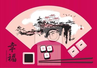 Plakat Sushi na tle chińskiej akwareli