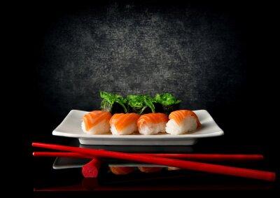 Plakat Sushi pałeczkami