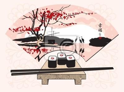Plakat sushi z chińskim wentylator z krajobrazu