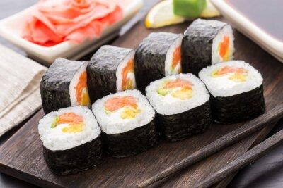 Plakat Sushi z łososiem i warzywami