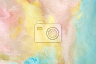 Plakat Sweet colorful cotton candy as background, closeup view