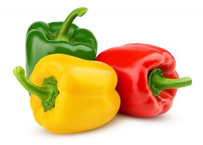 Plakat sweet pepper, red, green, yellow paprika, isolated on white background, clipping path, full depth of field