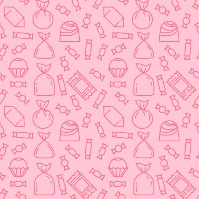 Plakat Sweets icon pattern background. Seamless sweets pattern. Symbol, logo illustration. Vector graphics