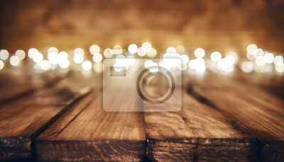 Plakat Światła na drewnianym rustykalnym tle