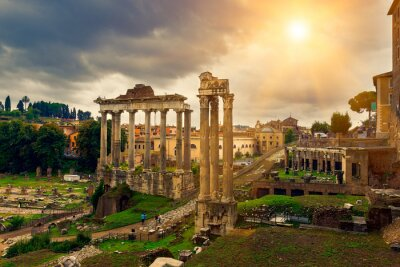 Plakat Świątynia Saturna i Forum Romanum w Rzymie, Włochy