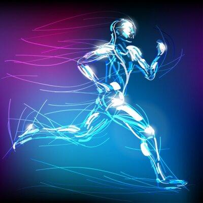 Plakat świetlisty biegacz wektor
