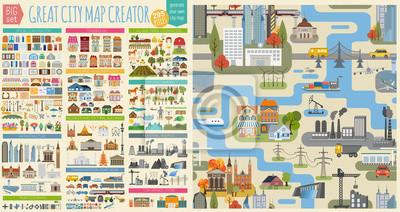Plakat Świetny twórca map miasta. Bezproblemowa mapa i zestaw domów, infrastruktury, przemysłu, transportu, wsi i wsi. Stwórz idealne miasto