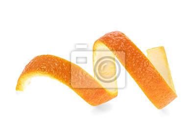 Plakat Świeża pomarańczowa skóra odizolowywająca na białym tle