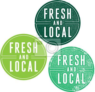 Plakat Świeże i lokalne produkty Pieczątki