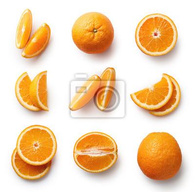 Plakat Świeże pomarańczowy samodzielnie na białym tle
