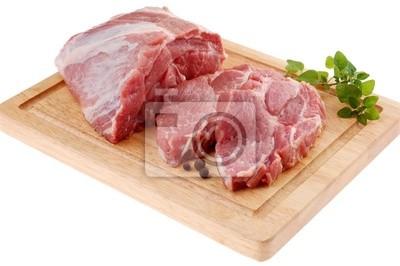 Plakat Świeże surowe mięso wieprzowe na białym tle