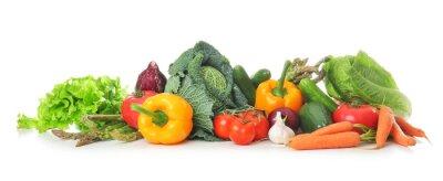 Plakat Świeże warzywa na białym tle. Koncepcja zdrowej żywności