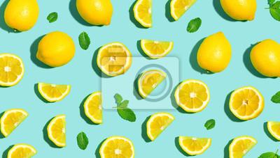 Plakat Świeży cytryna wzór na jaskrawym koloru tła mieszkaniu nieatutowym