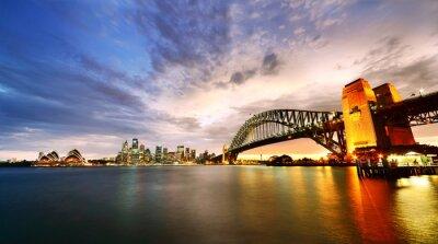 Plakat Sydney Harbor Panorama o zmierzchu