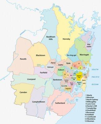 Plakat Sydney Metropolitan mapa administracyjna