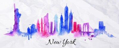 Plakat Sylwetka akwarela New york