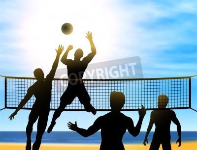 Plakat sylwetki czterech mężczyzn grających w siatkówkę plażową