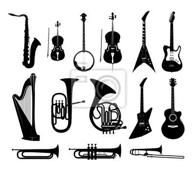 Plakat Sylwetki Instrumentów Muzycznych w odizolowanych czarnym i białym, wektorowe ilustracje