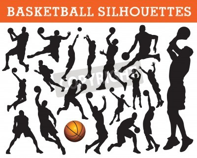 Plakat sylwetki koszykarzy