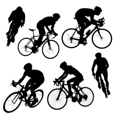 Plakat sylwetki rowerowych