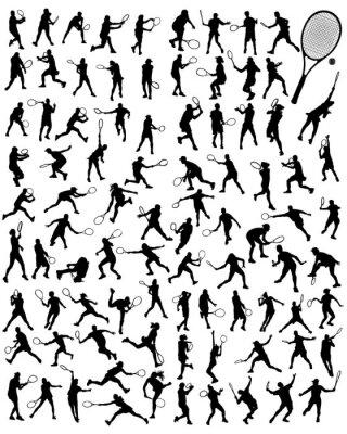 Plakat Sylwetki tenisista, wektor