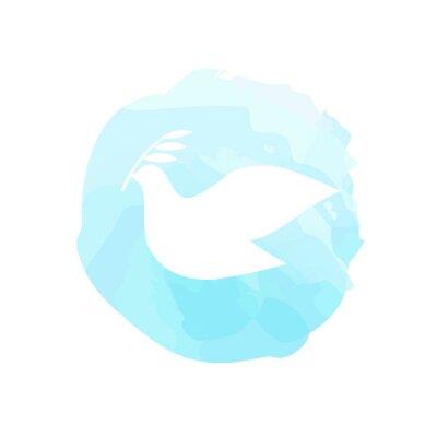 Plakat symbol pokoju - gołębica z gałązką oliwną