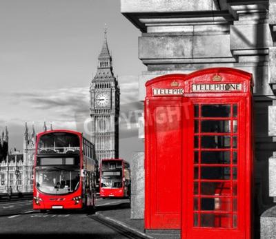 Plakat Symbole Londynie z Big Ben, piętrowy autobus i czerwone budki telefoniczne w Anglii, Wielkiej Brytanii