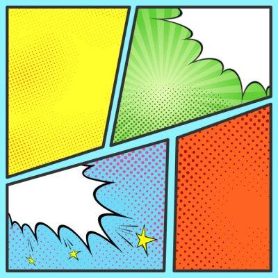 Plakat Szablon komiks strona arkusza pop-art