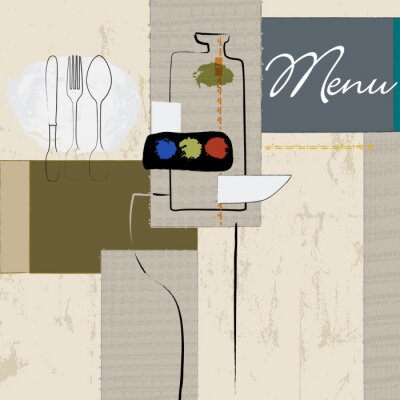 Plakat szablon menu restauracji design, uderzeniami i odpryskami, Grun