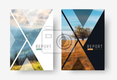 Plakat Szablon okładki dla raportu w stylu minimalistycznym z trójkątnymi elementami projektu.
