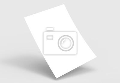 Plakat Szablon Uwaga pusty papier A4. Biały papier makiety. 3D ilustrujące.