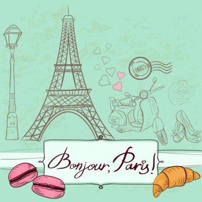 Plakat Szablon z symboli Paryża