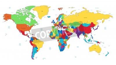 Plakat Szczegółowe mapy wektorowe Świat kolorach tęczy. Imiona, znaki miejskie i granice narodowe są w osobnych warstwach.