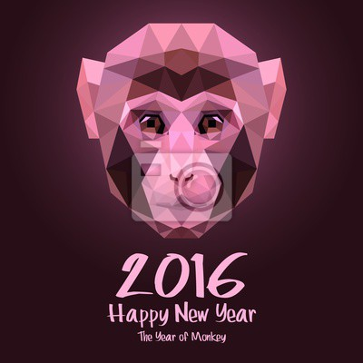 Szczęśliwego Nowego Roku 2016 ilustracji wektorowych Projektowanie Monkey stylizowane trójkąt wielokątne modelu. Koncepcja Web Banner i materiały drukowane. Trendy i piękne.