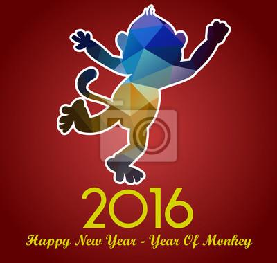 Szczęśliwego Nowego Roku 2016 kartkę z życzeniami stylizowane trójkąt wielokątne modelu. Rok małpy.