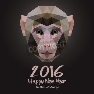 Szczęśliwego Nowego Roku. Ilustracja wektorowa Design Monkey Portret stylizowane trójkąta wielokąta modelu. Koncepcja Web Banner i materiały drukowane. Trendy i piękne.