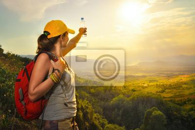 Plakat szczęśliwy podróżnik z plecakiem cieszyć widokiem zachodu słońca z podniesionymi