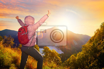 szczęśliwy podróżny z plecak stojących na skale z podniesioną ręką