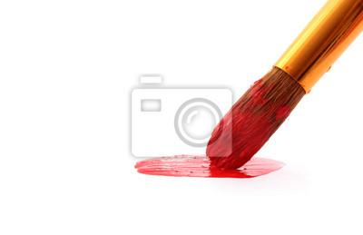 Plakat Szczotka w czerwonej farby zbliżenie